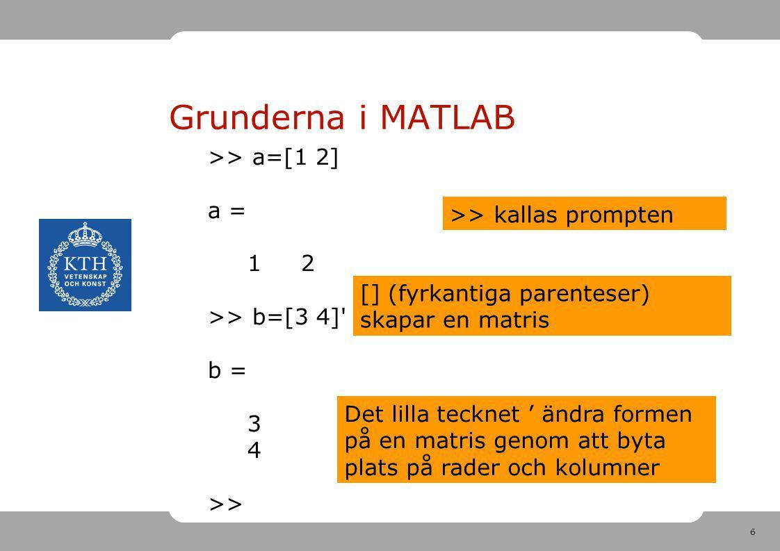 Grunderna i MATLAB >> a=[1 2] a = 1 2 >> kallas prompten